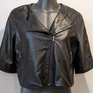 Michel Studio faux leather cropped jacket sz 18